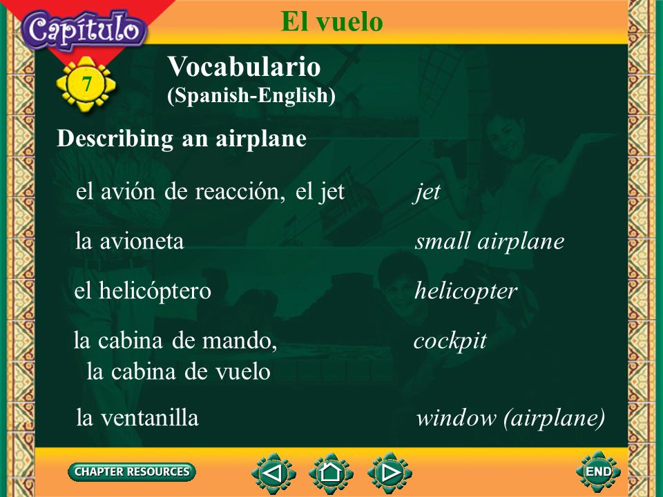 El vuelo Vocabulario Describing an airplane