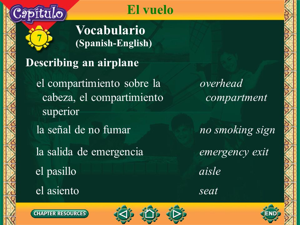 El vuelo Vocabulario Describing an airplane el compartimiento sobre la