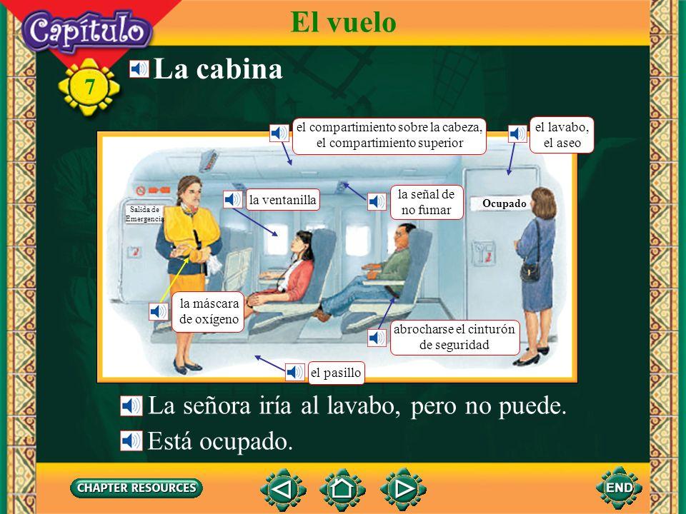 El vuelo La cabina La señora iría al lavabo, pero no puede.