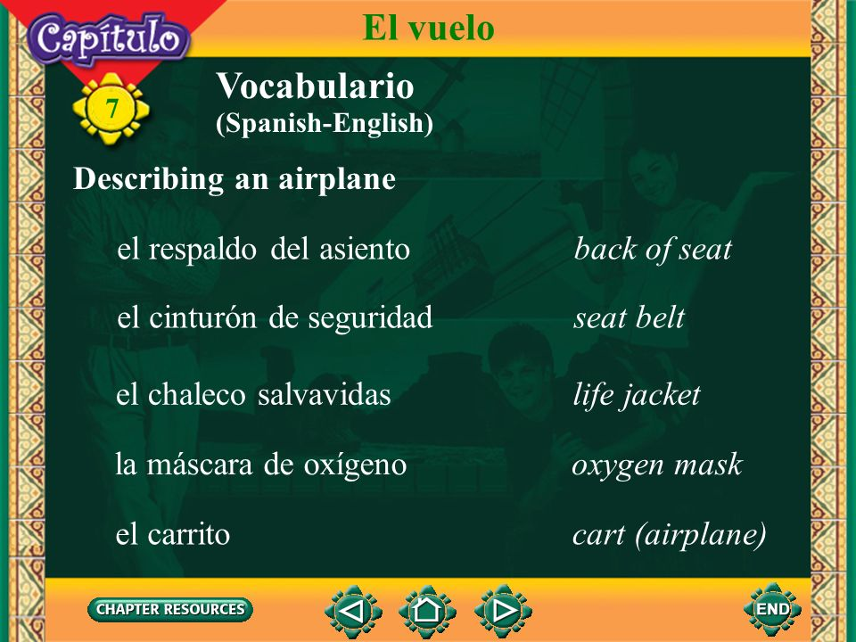 El vuelo Vocabulario Describing an airplane el respaldo del asiento