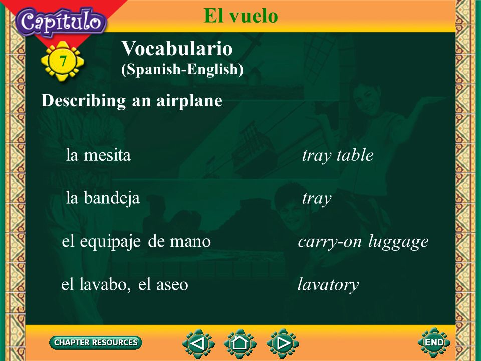 El vuelo Vocabulario Describing an airplane la mesita tray table