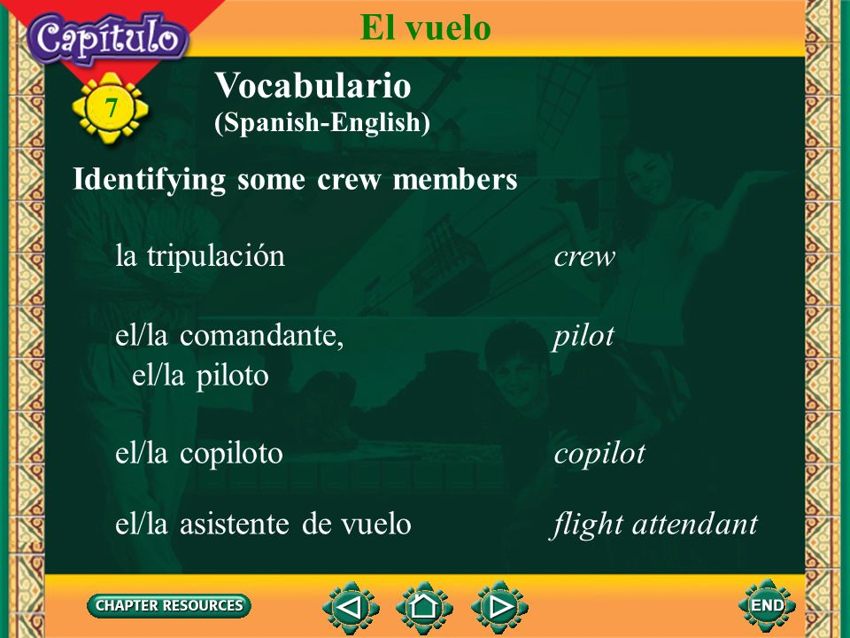 El vuelo Vocabulario Identifying some crew members la tripulación crew