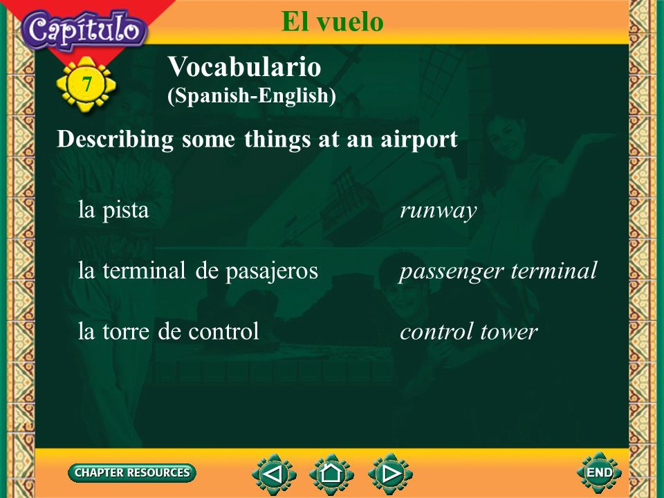 El vuelo Vocabulario Describing some things at an airport la pista