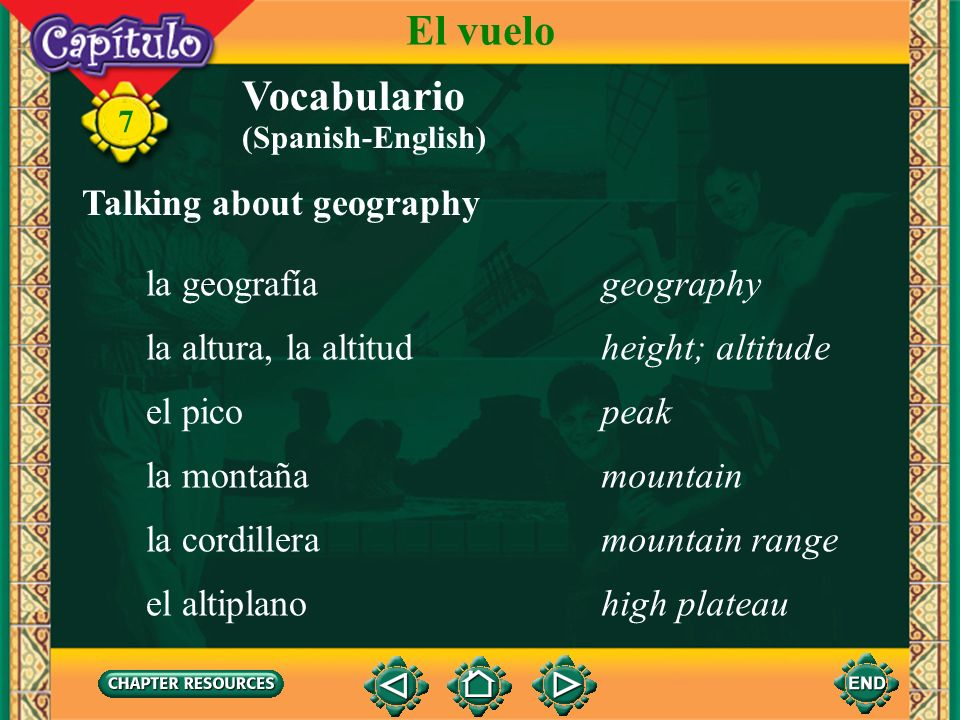 El vuelo Vocabulario Talking about geography la geografía geography