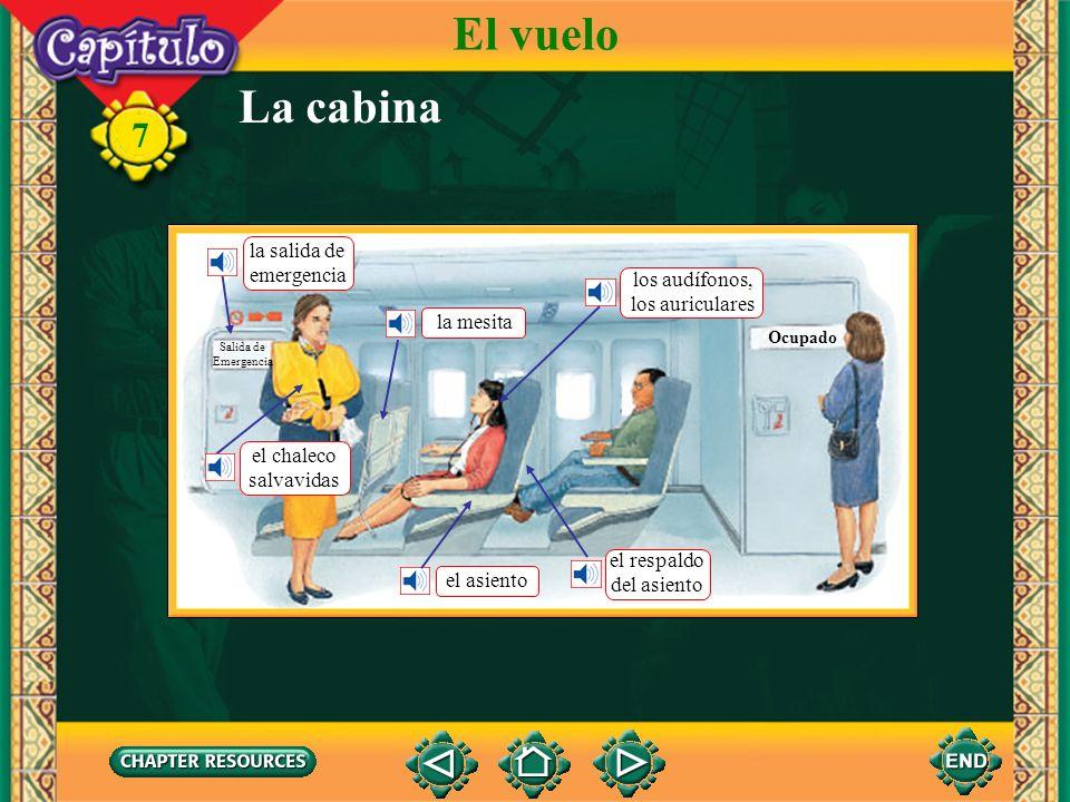 El vuelo La cabina la salida de emergencia los audífonos,