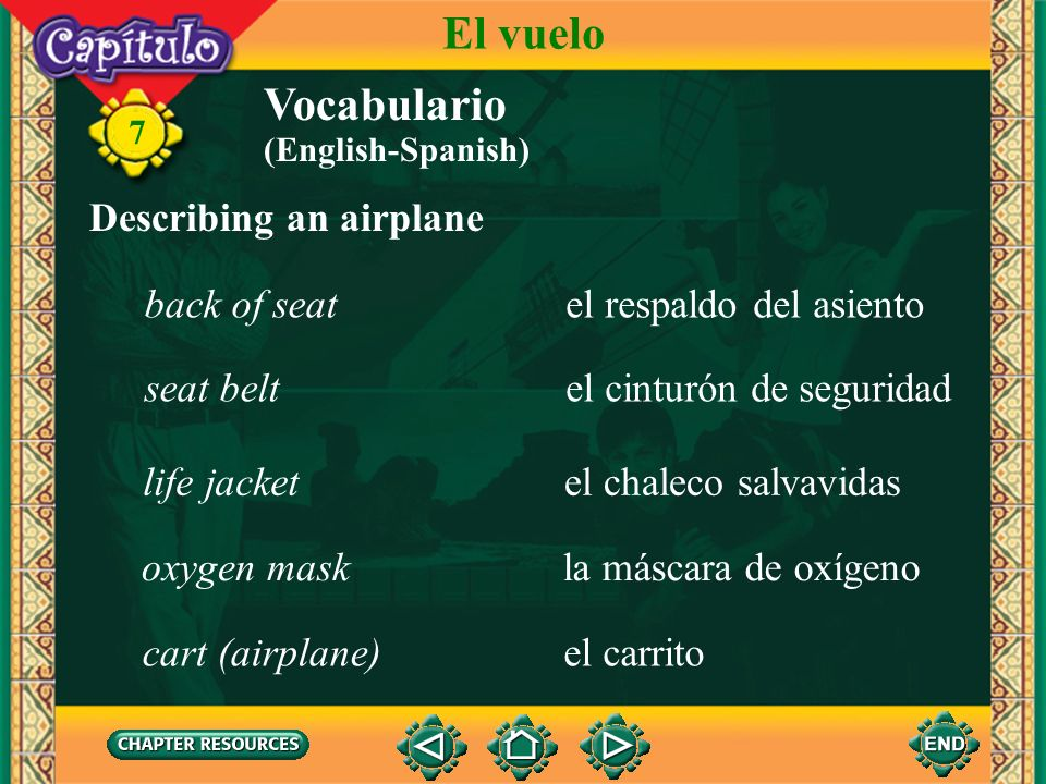 El vuelo Vocabulario Describing an airplane back of seat