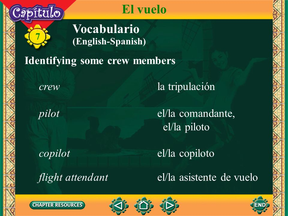 El vuelo Vocabulario Identifying some crew members crew la tripulación