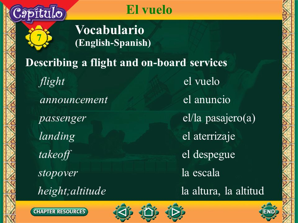 El vuelo Vocabulario Describing a flight and on-board services flight