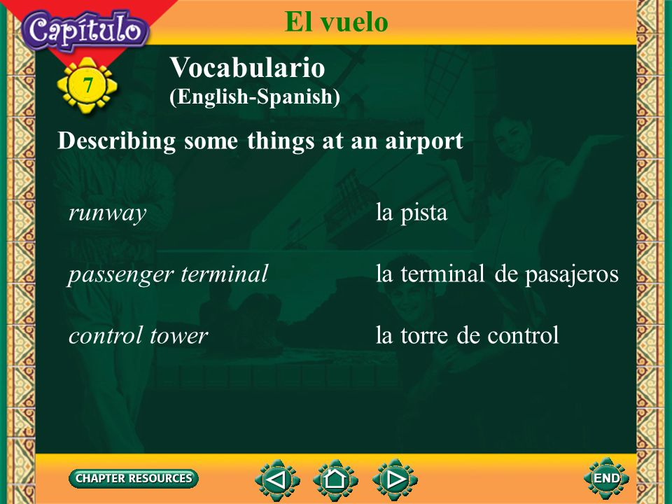 El vuelo Vocabulario Describing some things at an airport runway
