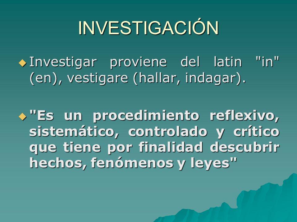 INVESTIGACIÓN Investigar proviene del latin in (en), vestigare (hallar, indagar).