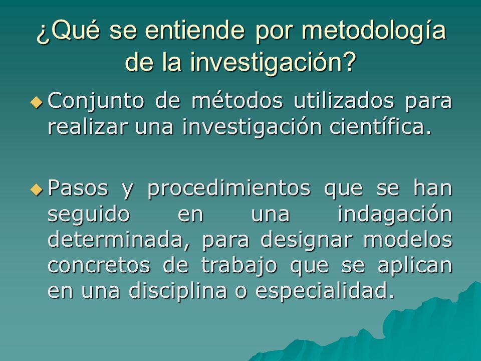 ¿Qué se entiende por metodología de la investigación