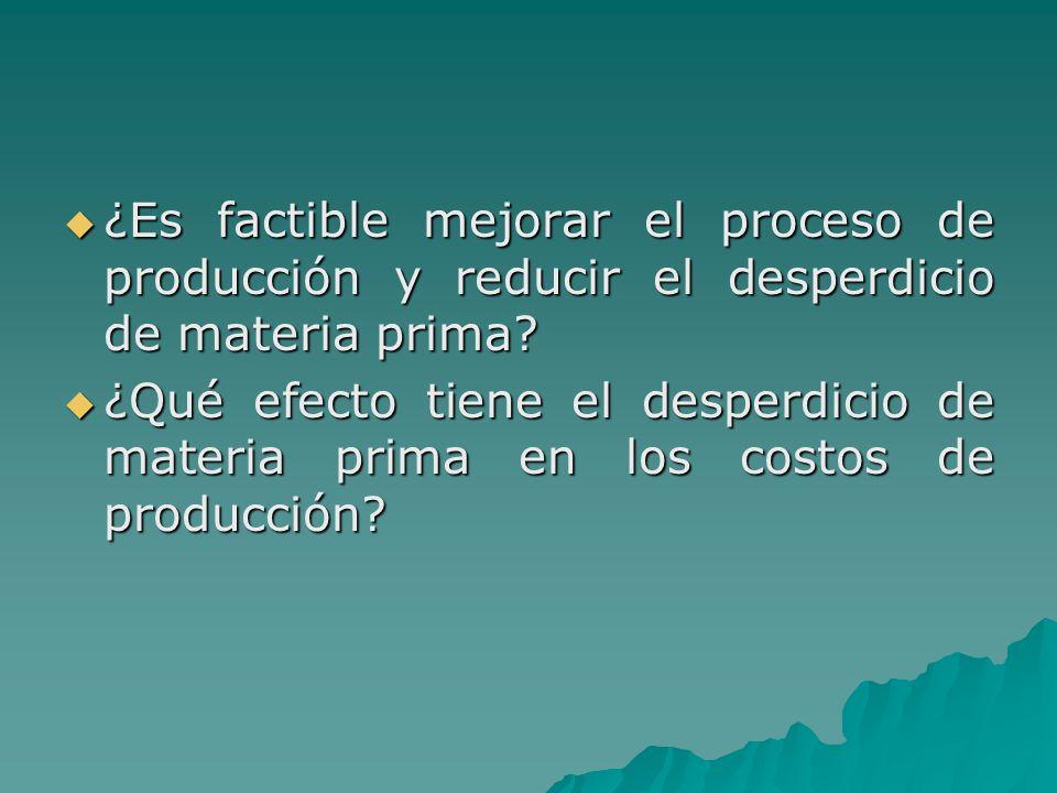 ¿Es factible mejorar el proceso de producción y reducir el desperdicio de materia prima