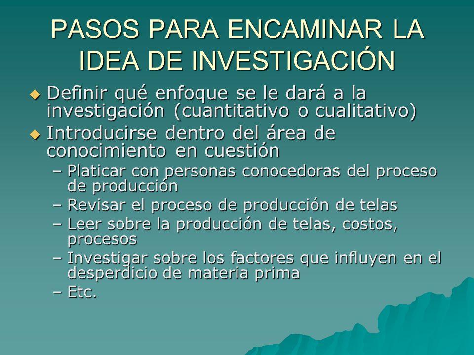 PASOS PARA ENCAMINAR LA IDEA DE INVESTIGACIÓN