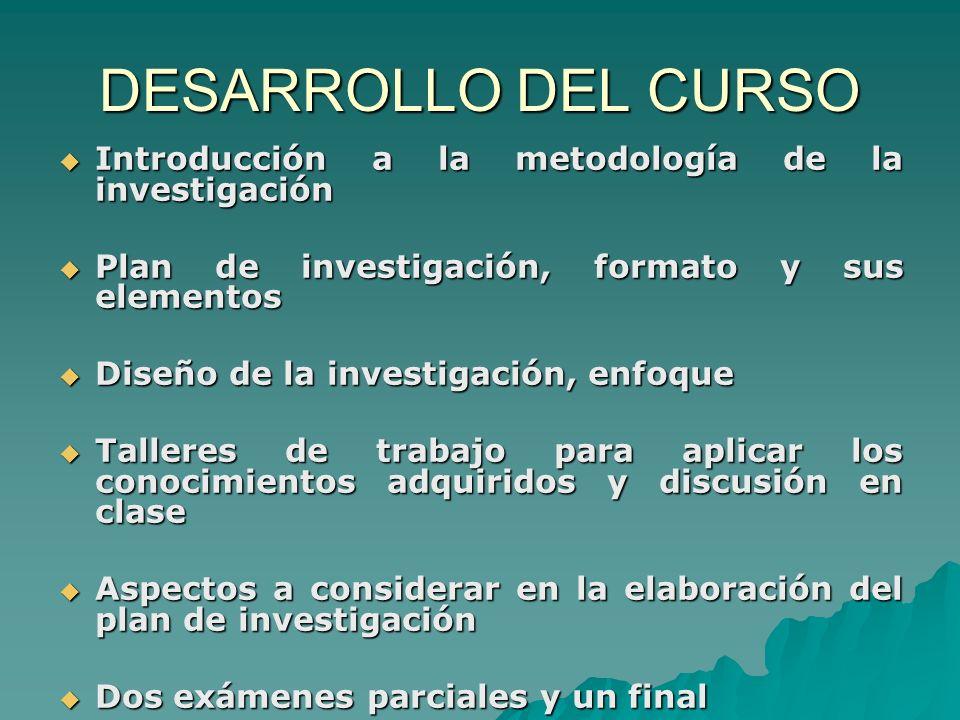 DESARROLLO DEL CURSO Introducción a la metodología de la investigación
