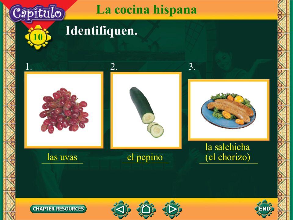 La cocina hispana Identifiquen. 1. 2. 3. la salchicha (el chorizo)