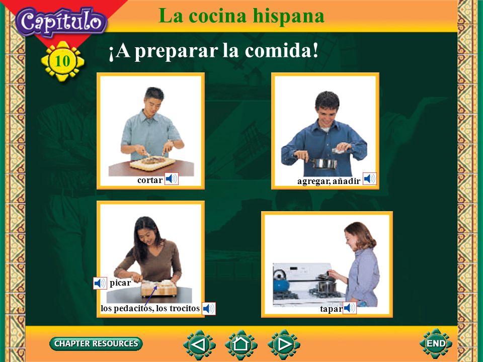 La cocina hispana ¡A preparar la comida! cortar agregar, añadir picar