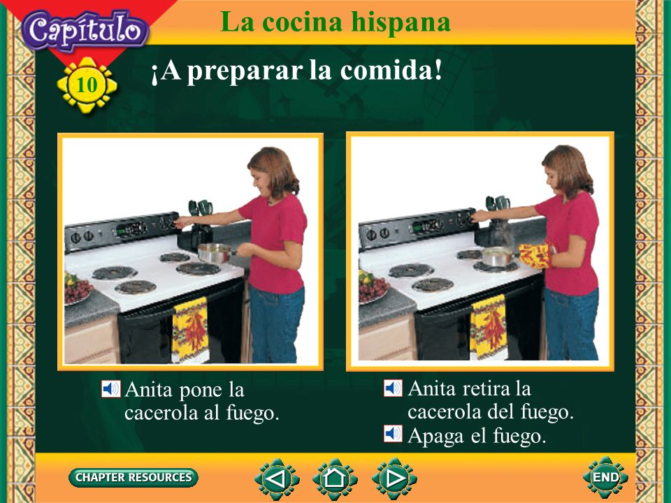 La cocina hispana ¡A preparar la comida! Anita pone la Anita retira la