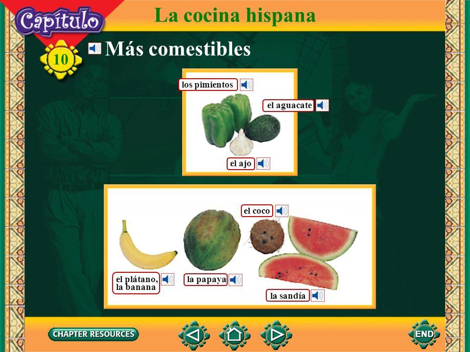 La cocina hispana Más comestibles los pimientos el aguacate el ajo