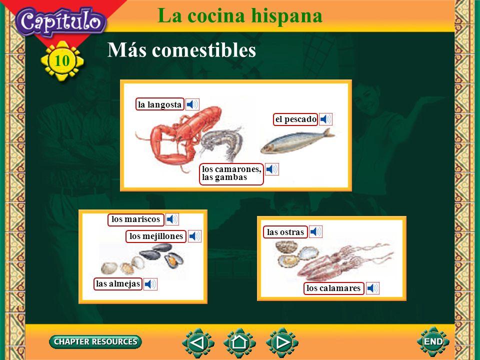 La cocina hispana Más comestibles la langosta el pescado