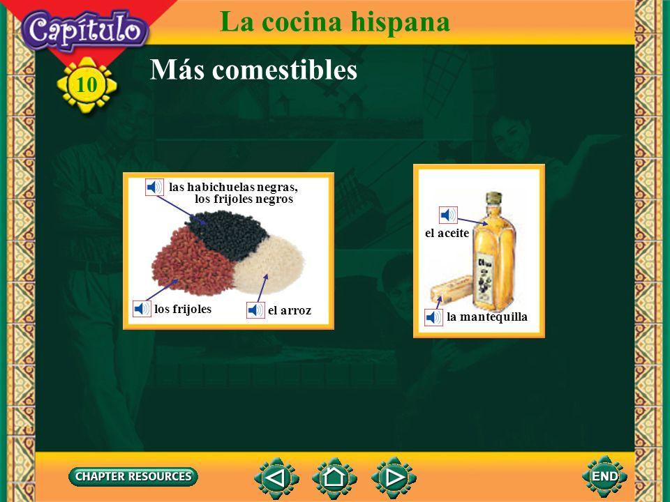 La cocina hispana Más comestibles las habichuelas negras,
