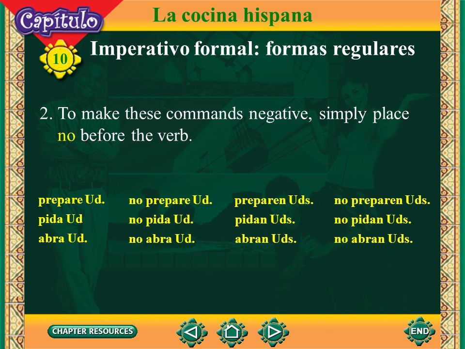 Imperativo formal: formas regulares