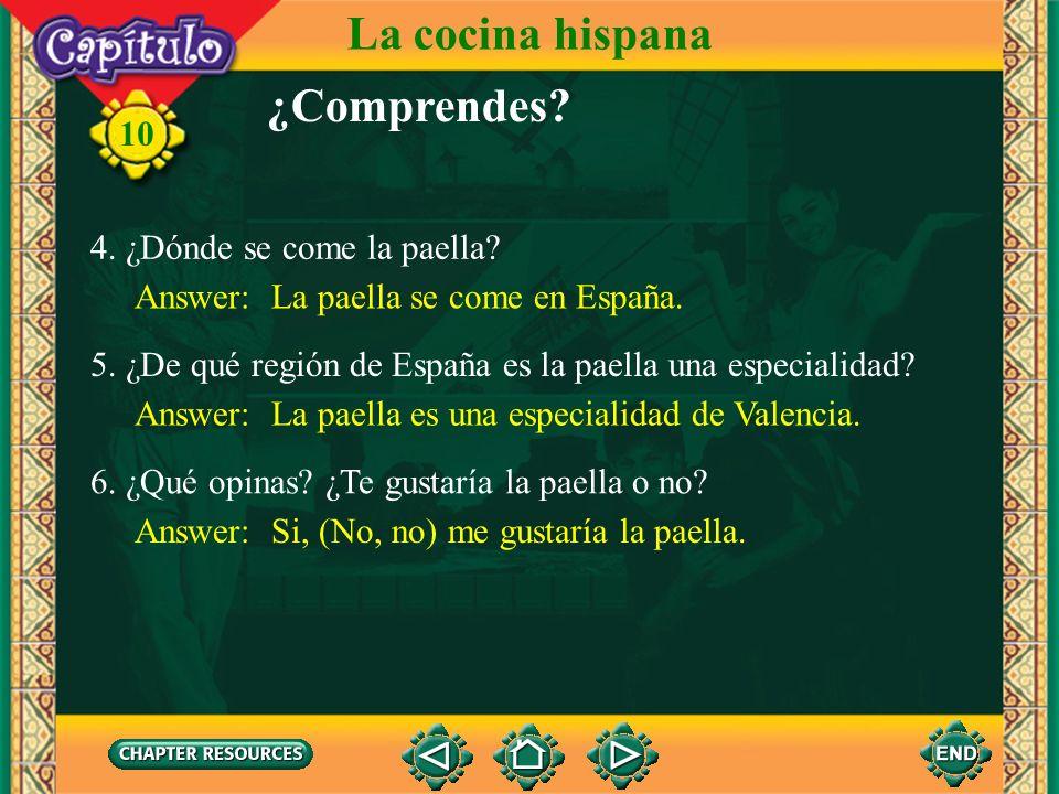 La cocina hispana ¿Comprendes 4. ¿Dónde se come la paella