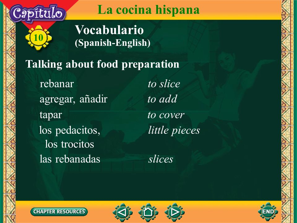 La cocina hispana Vocabulario Talking about food preparation rebanar