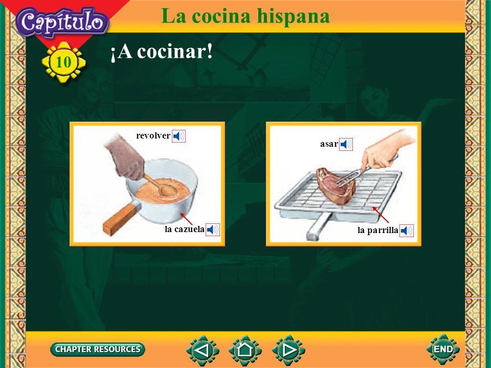 La cocina hispana ¡A cocinar! revolver asar la cazuela la parrilla