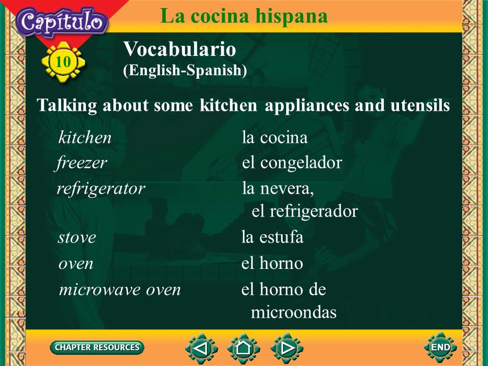 La cocina hispana Vocabulario