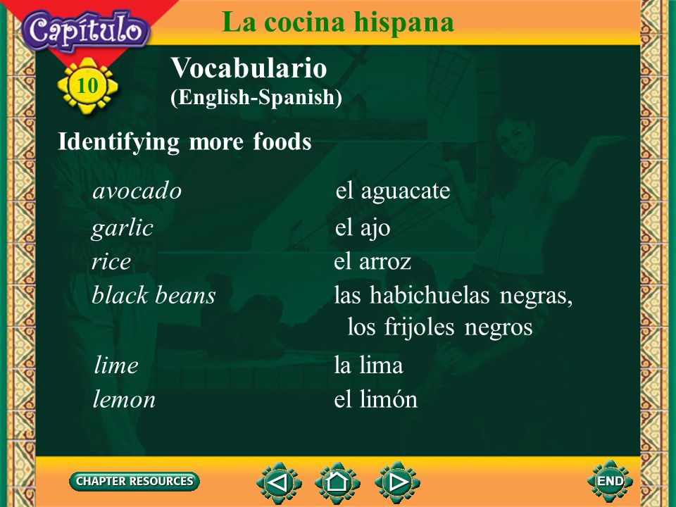 La cocina hispana Vocabulario Identifying more foods avocado
