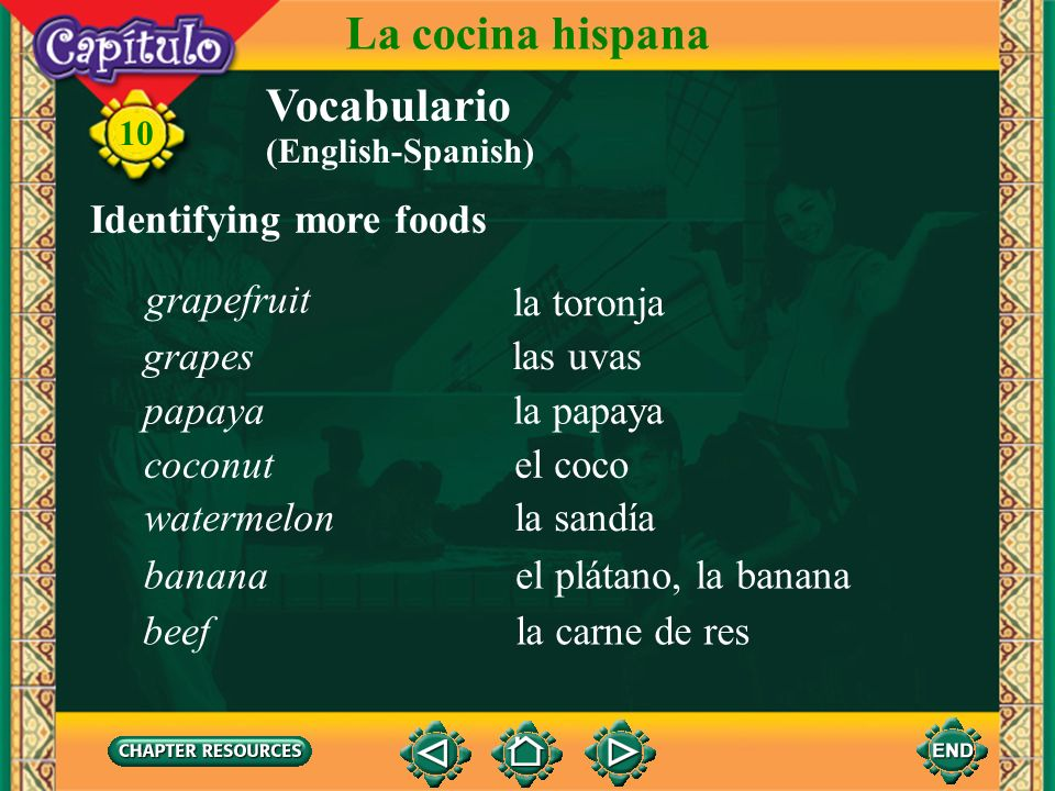 La cocina hispana Vocabulario Identifying more foods grapefruit