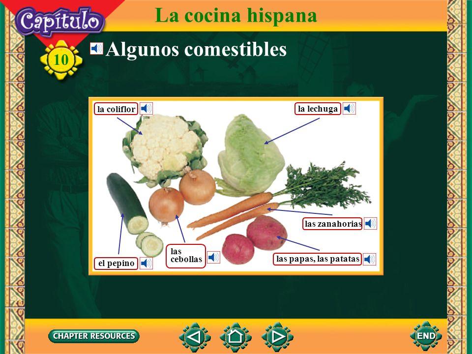 La cocina hispana Algunos comestibles la coliflor la lechuga