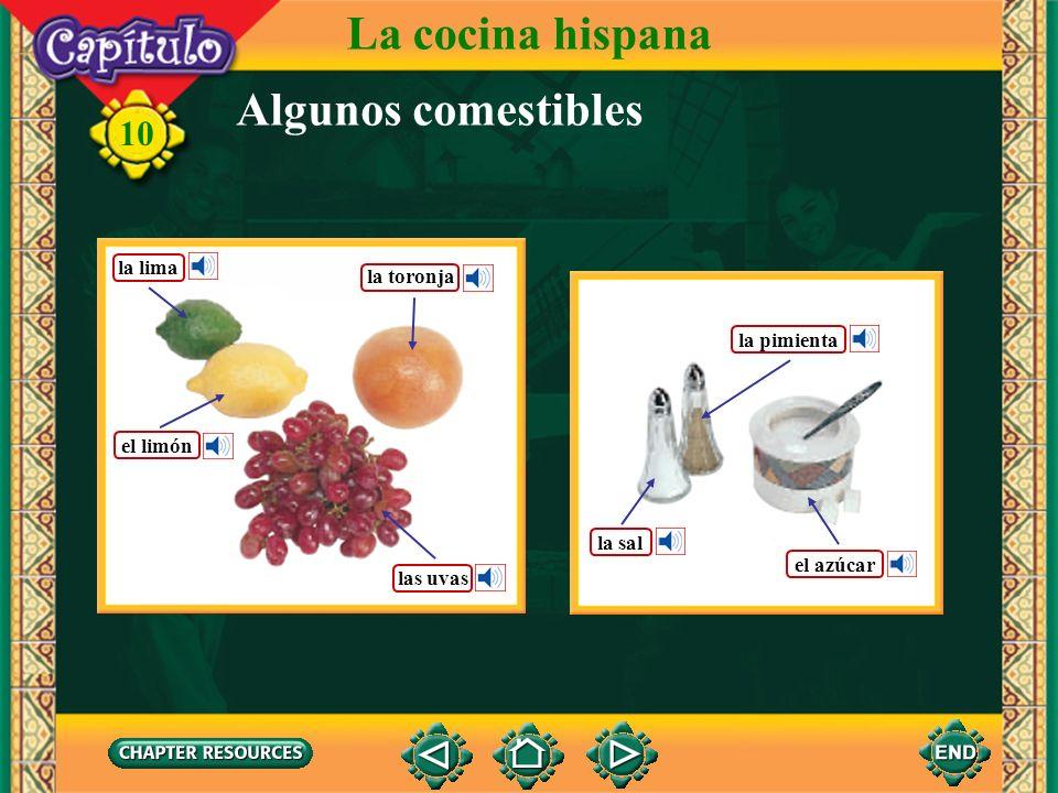 La cocina hispana Algunos comestibles la lima la toronja la pimienta