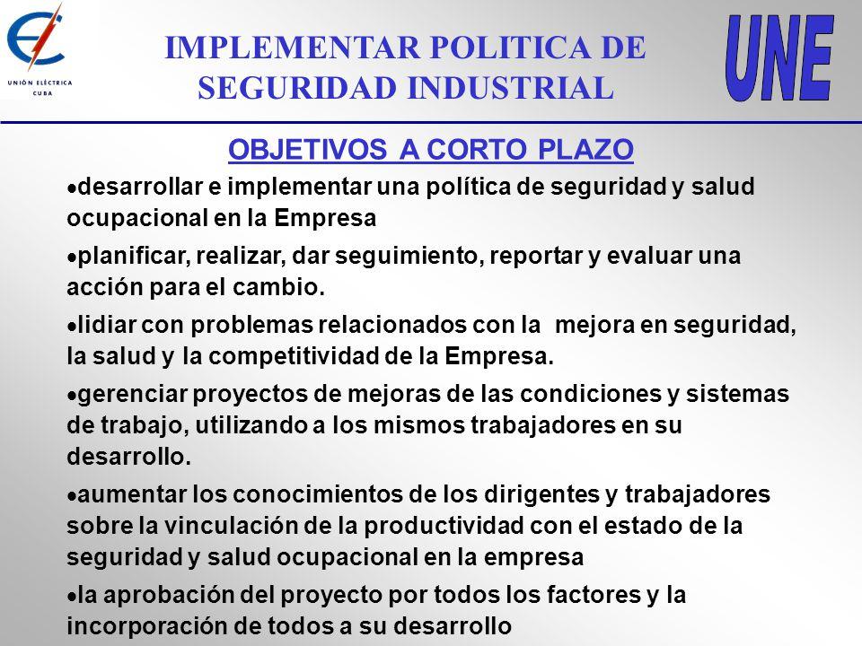 IMPLEMENTAR POLITICA DE SEGURIDAD INDUSTRIAL OBJETIVOS A CORTO PLAZO