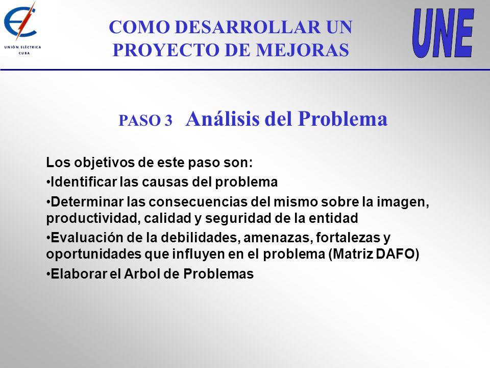 COMO DESARROLLAR UN PROYECTO DE MEJORAS PASO 3 Análisis del Problema