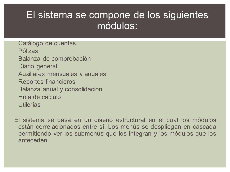 El sistema se compone de los siguientes módulos: