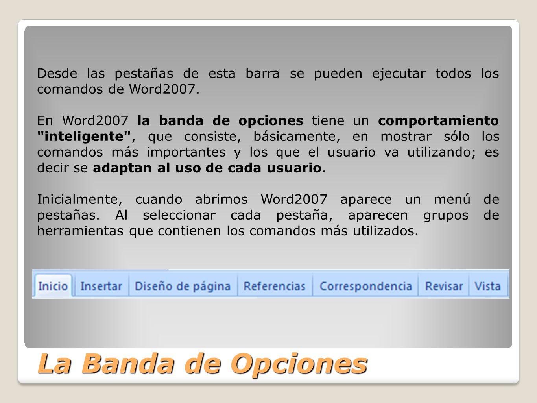 Desde las pestañas de esta barra se pueden ejecutar todos los comandos de Word2007.