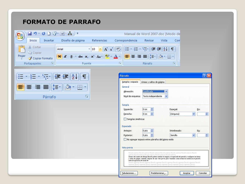 FORMATO DE PARRAFO
