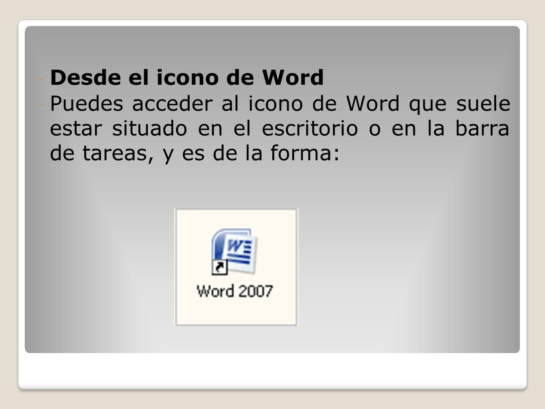 Desde el icono de WordPuedes acceder al icono de Word que suele estar situado en el escritorio o en la barra de tareas, y es de la forma: