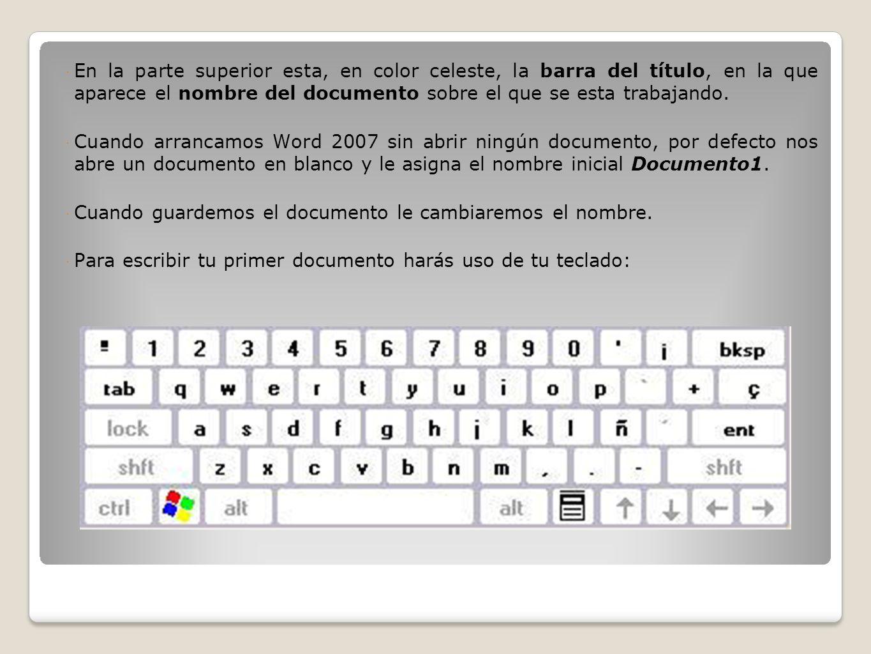 En la parte superior esta, en color celeste, la barra del título, en la que aparece el nombre del documento sobre el que se esta trabajando.