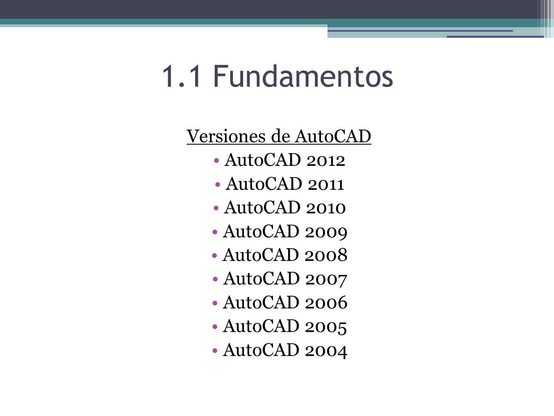 1.1 Fundamentos Versiones de AutoCAD AutoCAD 2012 AutoCAD 2011
