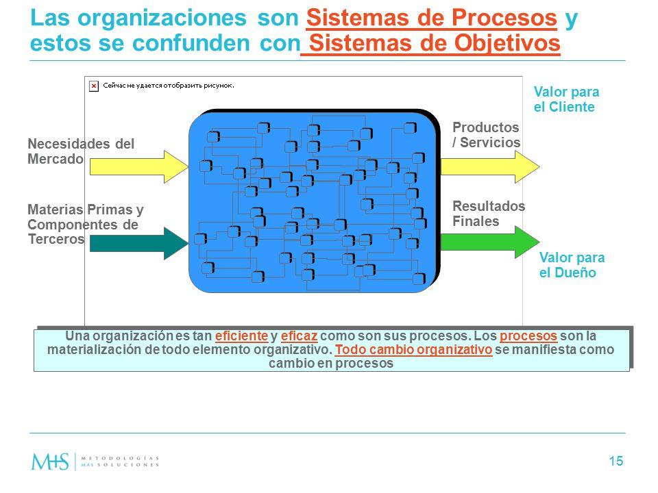 Las organizaciones son Sistemas de Procesos y estos se confunden con Sistemas de Objetivos
