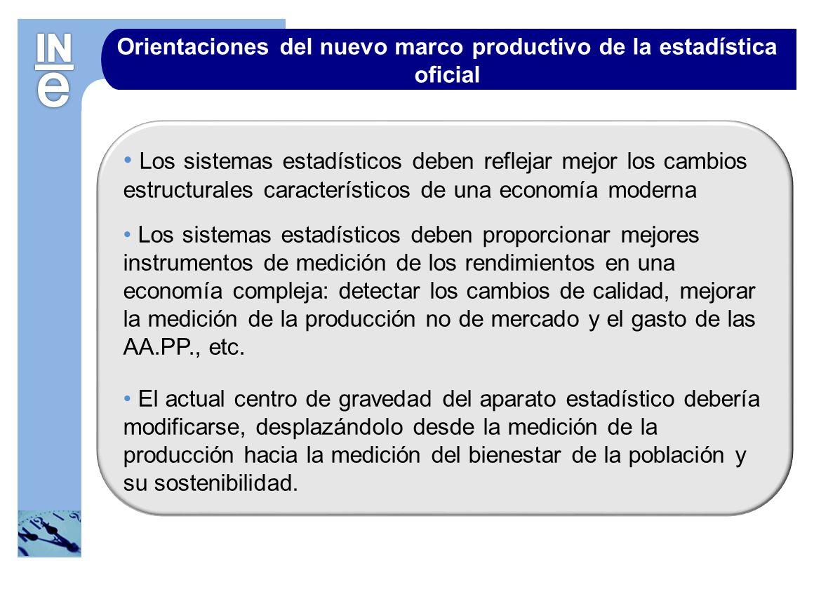 Orientaciones del nuevo marco productivo de la estadística oficial