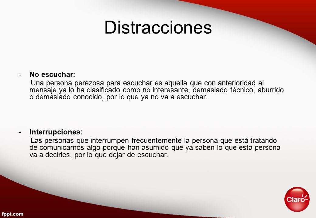 Distracciones No escuchar: