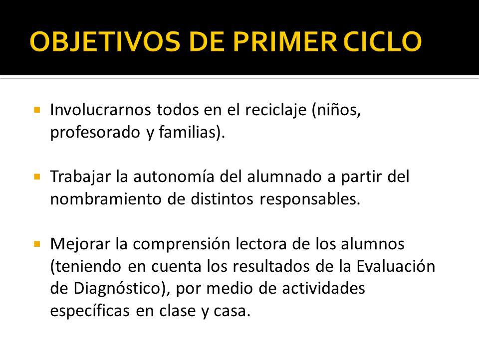 OBJETIVOS DE PRIMER CICLO