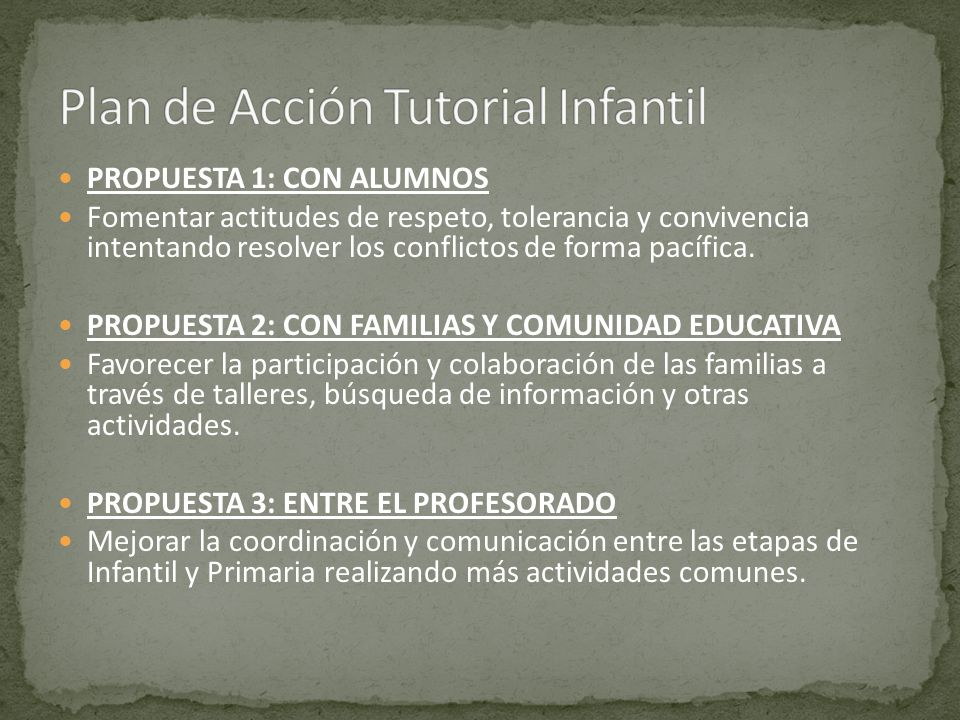 Plan de Acción Tutorial Infantil