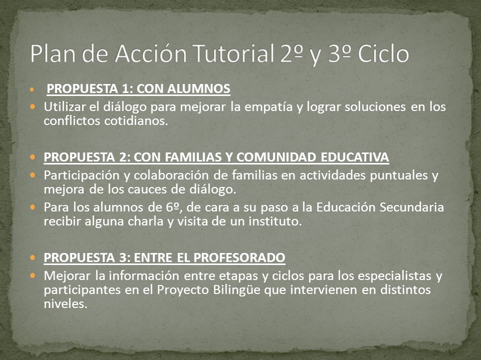 Plan de Acción Tutorial 2º y 3º Ciclo