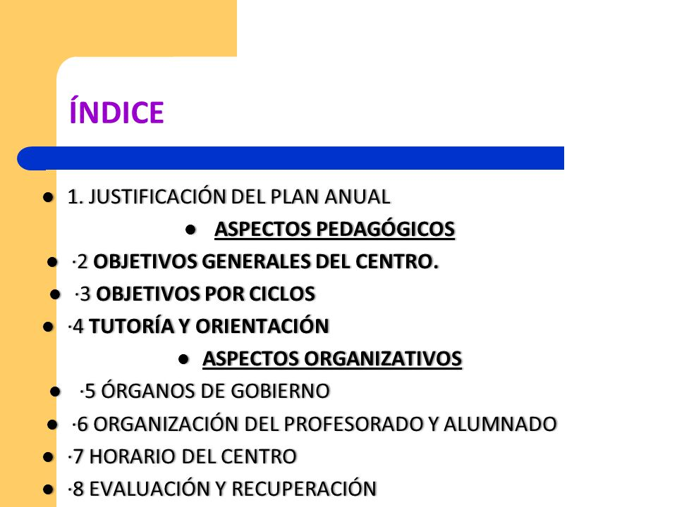 ÍNDICE 1. JUSTIFICACIÓN DEL PLAN ANUAL ASPECTOS PEDAGÓGICOS
