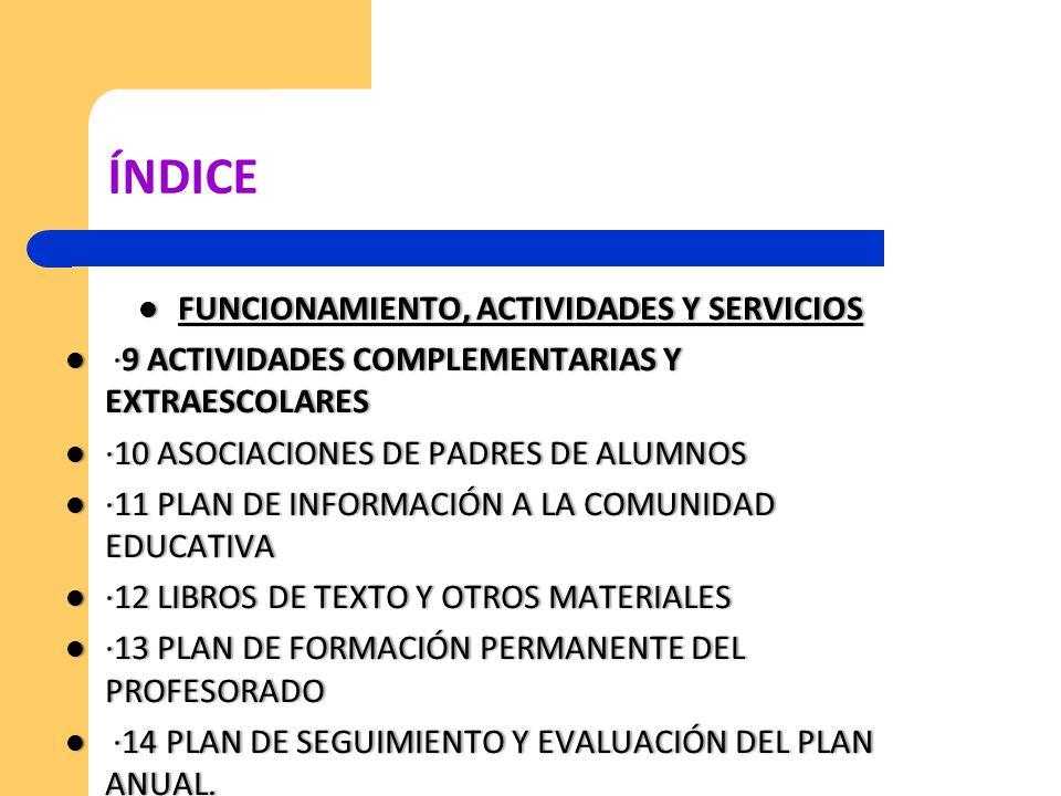 FUNCIONAMIENTO, ACTIVIDADES Y SERVICIOS