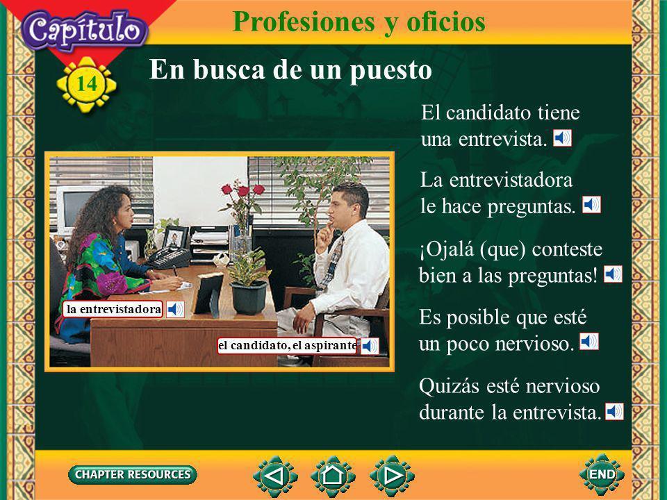 Profesiones y oficios En busca de un puesto El candidato tiene